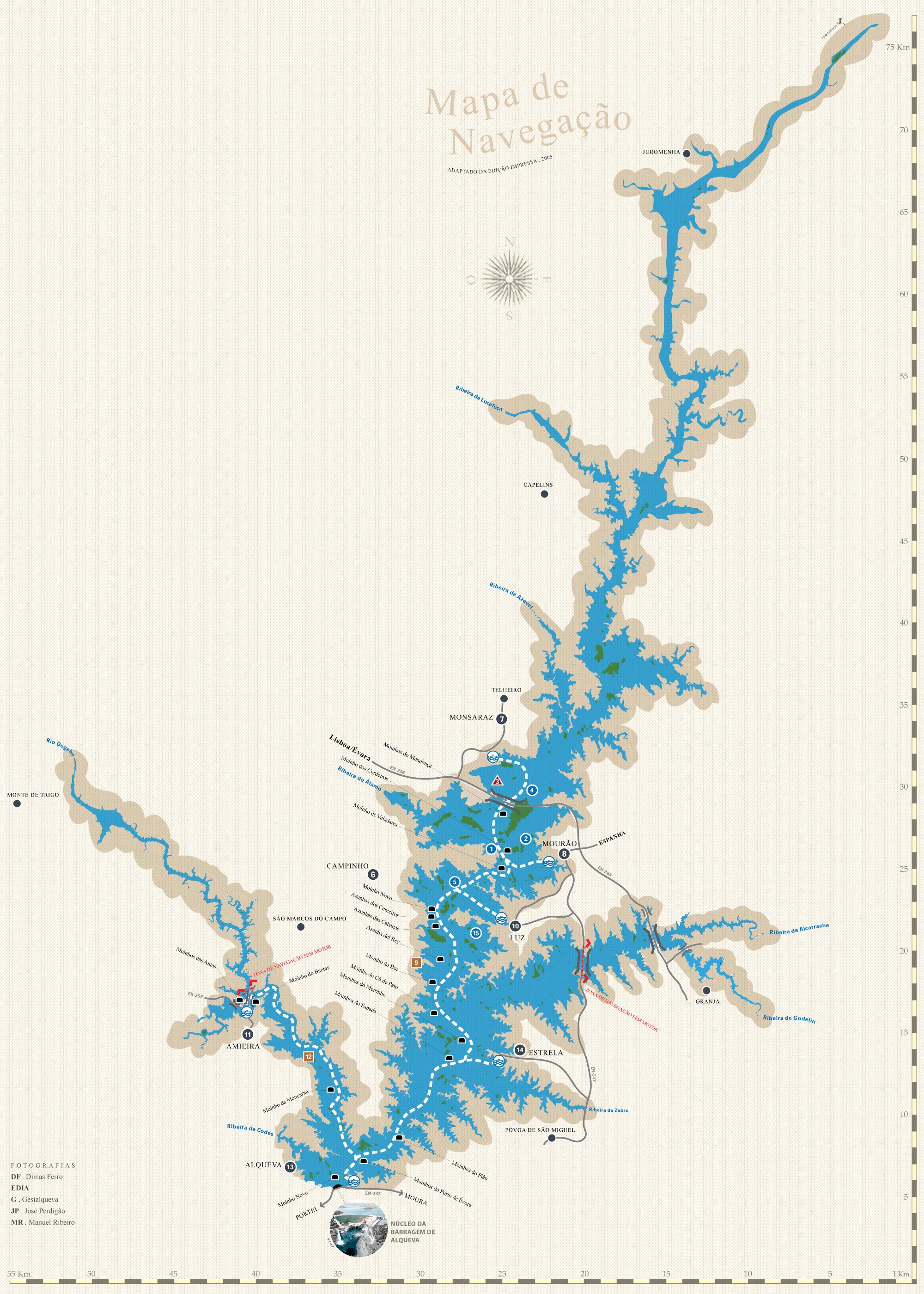 alqueva mapa Terras do Grande Lago Alqueva   Mapa de Navegação alqueva mapa